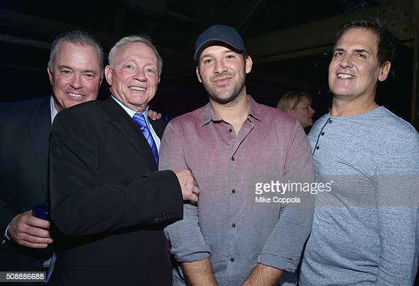 Dallas Cowboys Owner / President / General Manager Jerry Jones NFL player Tony Romo and AXS TV Chairman CEO and President Mark Cuban attend the...