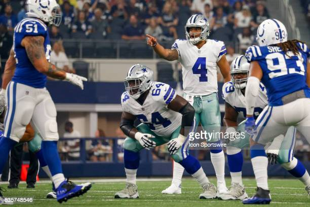 Dallas Cowboys quarterback Dak Prescott calls out the coverages during the NFL preseason game between the Indianapolis Colts and Dallas Cowboys at...