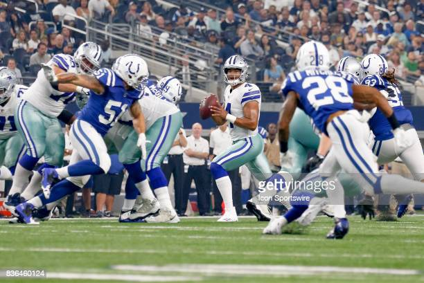 Dallas Cowboys quarterback Dak Prescott looks down field during the NFL preseason game between the Indianapolis Colts and Dallas Cowboys on August 19...