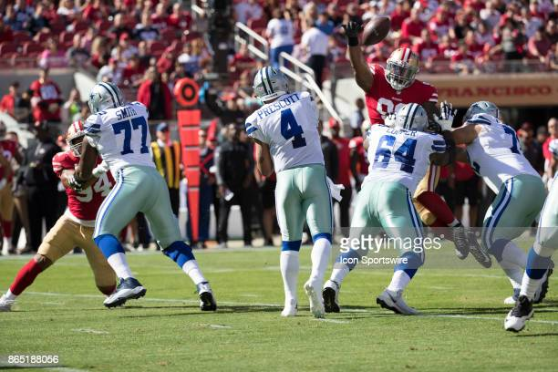 Dallas Cowboys quarterback Dak Prescott pass batted down during the first quarter of the regular season game between the Dallas Cowboys and the San...