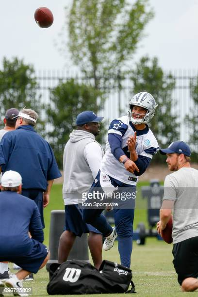 Dallas Cowboys Quarterback Dak Prescott runs through drills during Dallas Cowboys minicamp on June 14 2017 at The Star in Frisco TX
