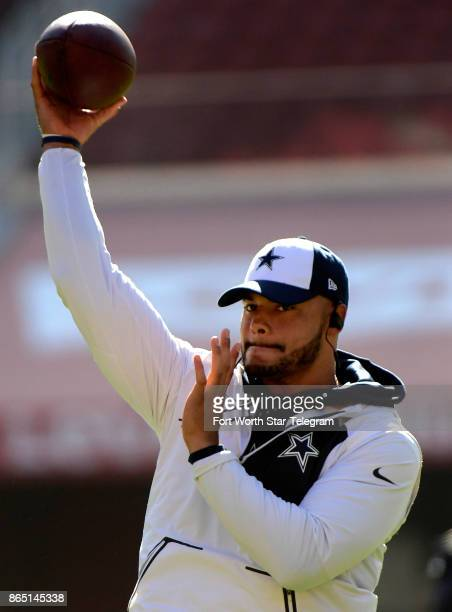 Dallas Cowboys quarterback Dak Prescott warms up before a game against the San Francisco 49ers on Sunday Oct 22 2017 at Levi's Stadium in Santa Clara...