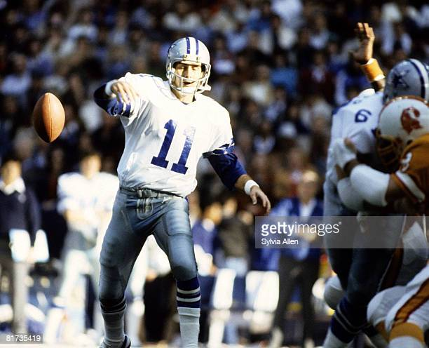 Dallas Cowboys quarterback Danny White fumbles leading to a Buccaneers touchdown during the Cowboys 3017 victory over the Tampa Bay Buccaneers in the...