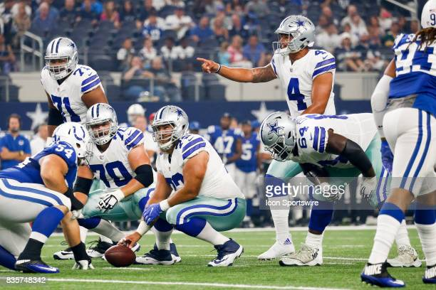 Dallas Cowboys quarterback Das Prescott calls out signals during the NFL preseason game between the Indianapolis Colts and Dallas Cowboys at ATT...