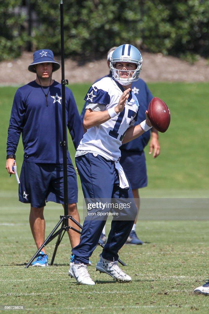 Dallas Cowboys Quarterback Kellen Moore (17) throws during the Dallas Cowboys Minicamp on June 15, 2017 at The Star in Frisco, Texas.
