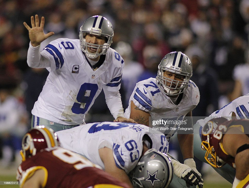 Dallas Cowboys quarterback Tony Romo (9) calls a play late in the second quarter as the Washington Redskins faced the Dallas Cowboys, Sunday, December 30, 2012 in Landover, Maryland.