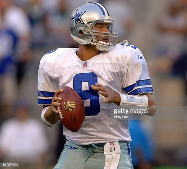 Dallas Cowboys quarterback Tony Romo drops back to pass during 133 victory over the Seattle Seahawks in preseason game at Qwest Field in Seattle Wash...
