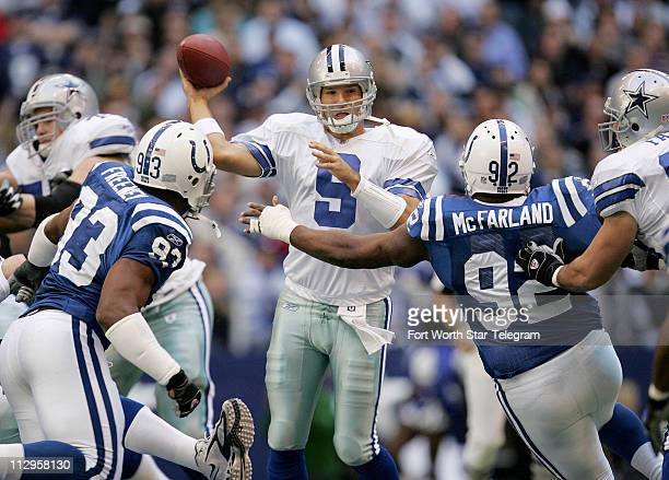 Dallas Cowboys quarterback Tony Romo makes a pass against the Indianapolis Colts during game action The Cowboys defeated the Colts 2114 at Texas...