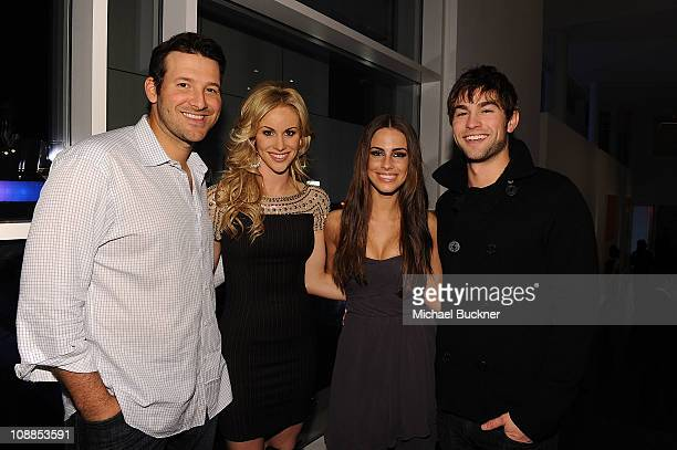 Dallas Cowboys Quarterback Tony Romo television personality Candice Crawford actress Jessica Lowndes and actor Chace Crawford attend a private dinner...