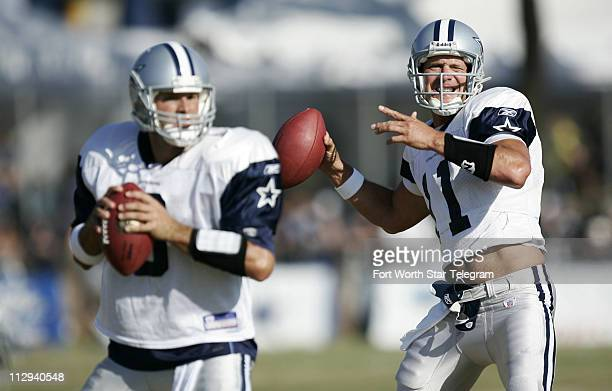 Dallas Cowboys quarterbacks Tony Romo and Drew Bledsoe throw during practice on Friday August 4 in Oxnard California