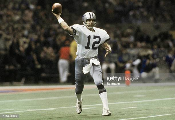 Dallas Cowboys' Roger Staubach throwing the football during Super Bowl game against the Denver Broncos in New Orleans