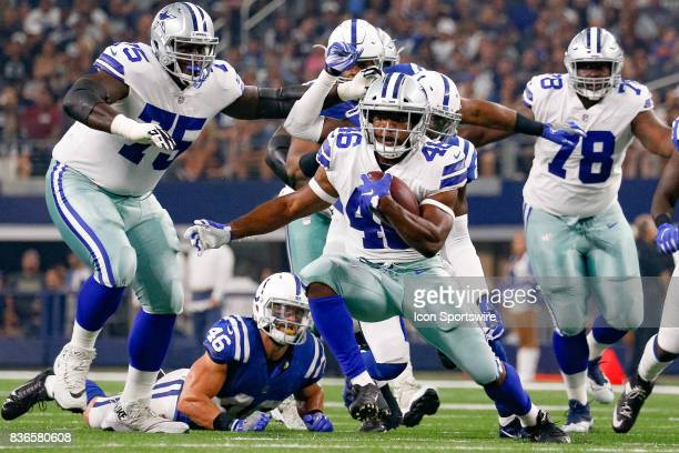 Dallas Cowboys running back Alfred Morris cuts back during the NFL preseason game between the Indianapolis Colts and Dallas Cowboys on August 19 2017...