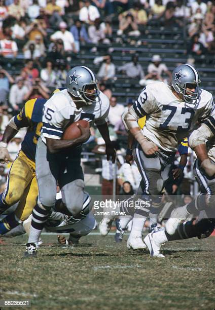 Dallas Cowboys running back Calvin Hill carries the football during the Cowboys 3731 loss to the Los Angeles Rams on October 14 1973 at the Los...