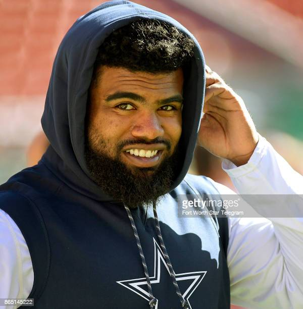 Dallas Cowboys running back Ezekiel Elliott warms up before a game against the San Francisco 49ers on Sunday Oct 22 2017 at Levi's Stadium in Santa...