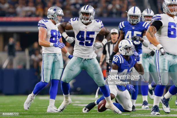 Dallas Cowboys running back Rod Smith celebrates a long gain during the NFL preseason game between the Indianapolis Colts and Dallas Cowboys at ATT...