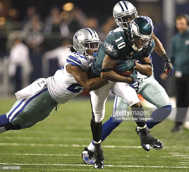 Dallas Cowboys strong safety JJ Wilcox and Brandon Carr chase Philadelphia Eagles wide receiver DeSean Jackson at ATT Stadium in Arlington Texas on...