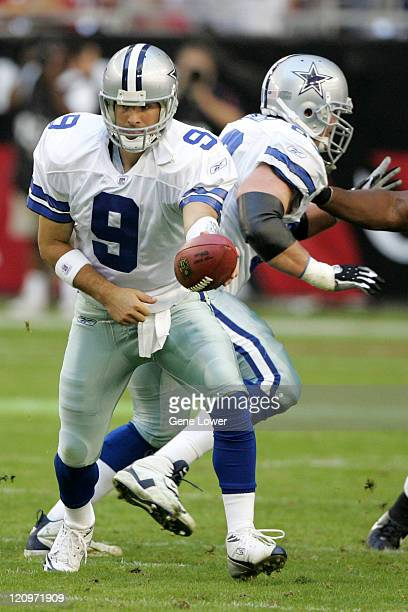 Dallas Cowboys Tony Romo hands the ball off during a game against the Arizona Cardinals Nov 12 at University of Phoenix Stadium in Glendale AZ The...