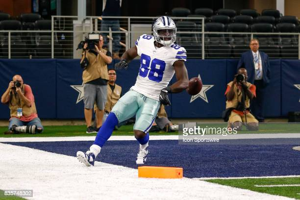 Dallas Cowboys wide receiver Dez Bryant celebrates his touchdown during the NFL preseason game between the Indianapolis Colts and Dallas Cowboys at...