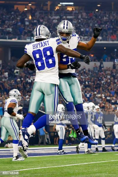 Dallas Cowboys wide receiver Dez Bryant celebrates his touchdown with wide receiver Terrance Williams during the NFL preseason game between the...