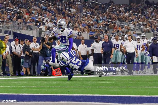 Dallas Cowboys wide receiver Uzoma Nwachukwu breaks through a tackle attempt by Indianapolis Colts defensive back Tyvis Powell during the NFL...