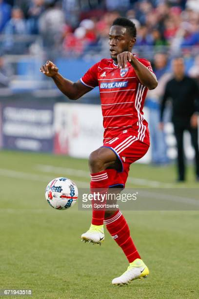 Dallas defender Maynor Figueroa controls a ball during the MLS match between Sporting KC and FC Dallas on April 22 2017 at Toyota Stadium in Frisco...