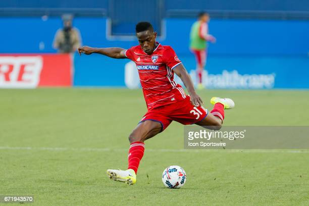 Dallas defender Maynor Figueroa crosses the ball during the MLS match between Sporting KC and FC Dallas on April 22 2017 at Toyota Stadium in Frisco...