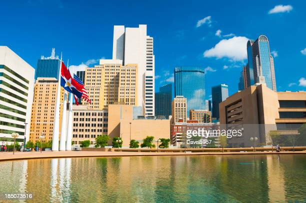 Dallas Downtown, flags, and pool