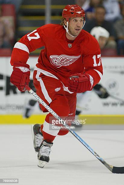 Dallas Drake of the Detroit Red Wings skates in a preseason game against the Pittsburgh Penguins played at the Joe Louis Arena on September 212007 in...