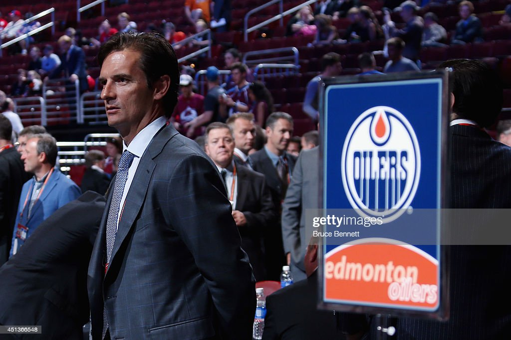Dallas Eakins, head coach of the Edmonton Oilers, looks on prior to the start of the first round of the 2014 NHL Draft at the Wells Fargo Center on June 27, 2014 in Philadelphia, Pennsylvania.