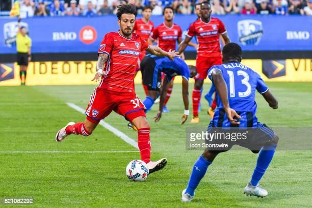 Dallas forward Maximiliano Urruti about to kick the ball in front of Montreal Impact midfielder Ballou Tabla during the FC Dallas versus the Montreal...