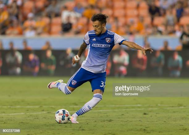 Dallas forward Maximiliano Urruti prepares to send the ball down the pitch during the MLS match between Dallas FC and Houston Dynamo on June 23 2017...