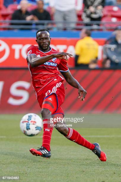 Dallas forward Roland Lamah shoots a ball during the MLS match between Sporting KC and FC Dallas on April 22 2017 at Toyota Stadium in Frisco TX FC...