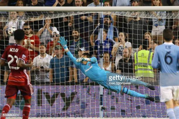 Dallas goalkeeper Jesse Gonzalez can't make the save on a shot from Sporting Kansas City forward Gerso in added time of the second half of an MLS...