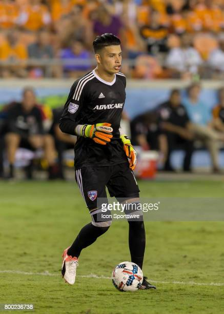 Dallas goalkeeper Jesse Gonzalez prepares to send the ball into the pitch during the MLS match between Dallas FC and Houston Dynamo on June 23 2017...