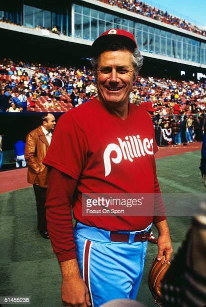 Dallas Green manager of the Philladelphia Phillies pauses for the camera during the World Series against the Kansas City Royals at Royals Stadium in...