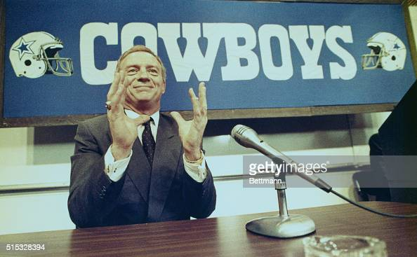 Jerry Jones millionaire oilman from Arkansas holds a press conference at the Dallas Cowboys headquarters 2/25 evening during which he told those...