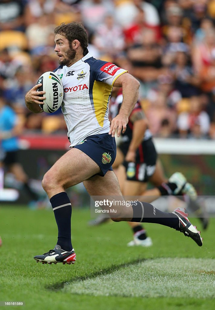 <a gi-track='captionPersonalityLinkClicked' href=/galleries/search?phrase=Dallas+Johnson&family=editorial&specificpeople=546344 ng-click='$event.stopPropagation()'>Dallas Johnson</a> of the Cowboys in action during the round four NRL match between the New Zealand Warriors and the North Queensland Cowboys at Mt Smart Stadium on April 1, 2013 in Auckland, New Zealand.