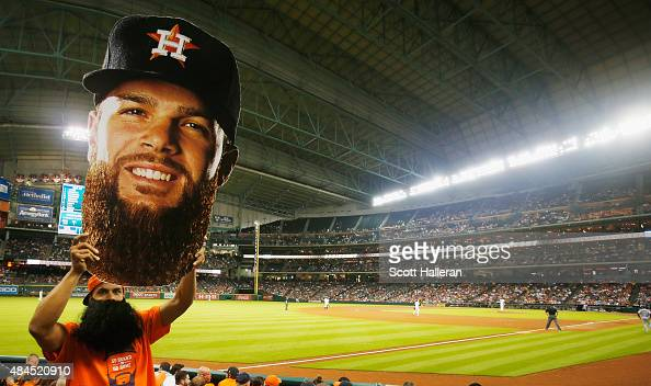 Dallas Keuchel fan cheers in left field during the fifth inning of the game between the Houston Astros and the Tampa Bay Rays at Minute Maid Park on...