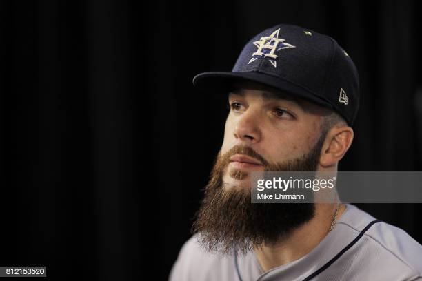Dallas Keuchel of the Houston Astros and the American League speaks with the media during Gatorade AllStar Workout Day ahead of the 88th MLB AllStar...