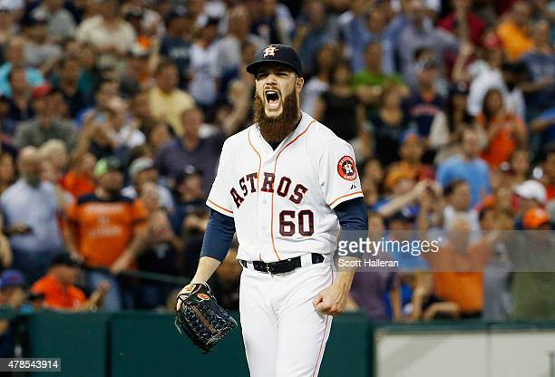Dallas Keuchel of the Houston Astros celebrates after a completegame shutout as the Astros defeated the New York Yankees 40 at Minute Maid Park on...