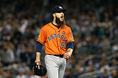 Dallas Keuchel of the Houston Astros celebrates after striking out the New York Yankees in the first inning during the American League Wild Card Game...