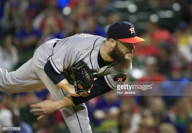 Dallas Keuchel of the Houston Astros delivers against the Texas Rangers during the first inning at Globe Life Park in Arlington on June 2 2017 in...
