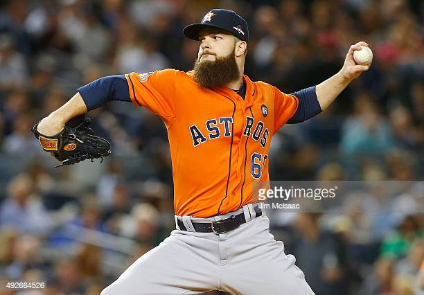Dallas Keuchel of the Houston Astros in action against the New York Yankees during the American League Wild Card Game at Yankee Stadium on October 6...