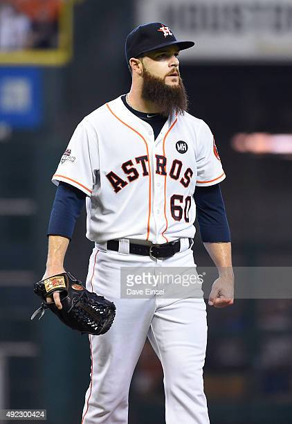 Dallas Keuchel of the Houston Astros looks during Game 3 of the ALDS against the Kansas City Royals at Minute Maid Park on Sunday October 11 2015 in...