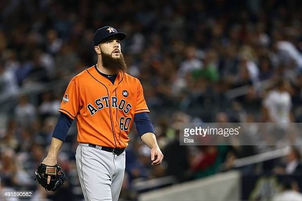 Dallas Keuchel of the Houston Astros looks on against the New York Yankees during the American League Wild Card Game at Yankee Stadium on October 6...