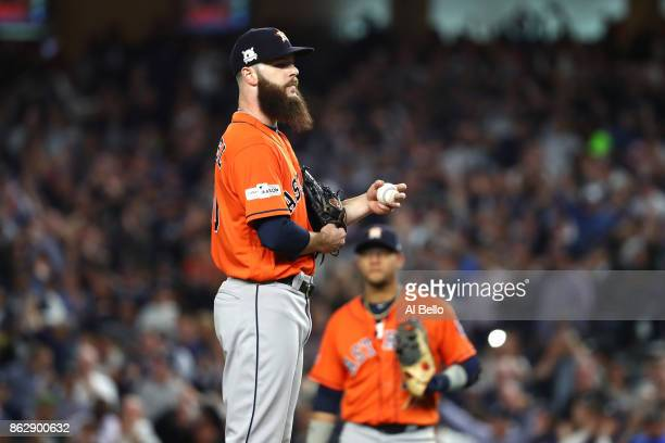 Dallas Keuchel of the Houston Astros looks on during the fifth inning against the New York Yankees in Game Five of the American League Championship...
