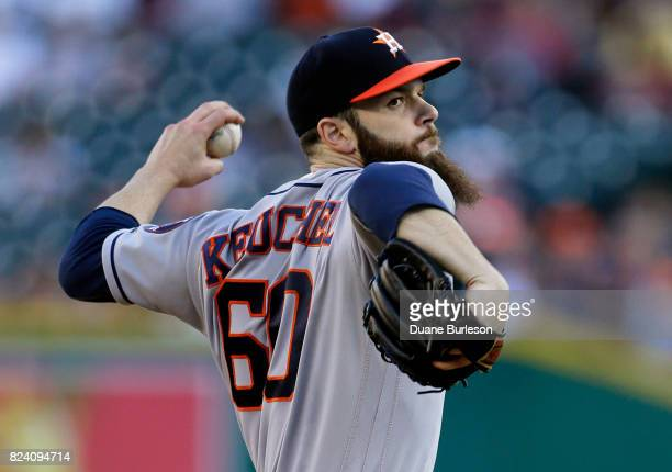 Dallas Keuchel of the Houston Astros pitches against the Detroit Tigers during the second inning at Comerica Park on July 28 2017 in Detroit Michigan