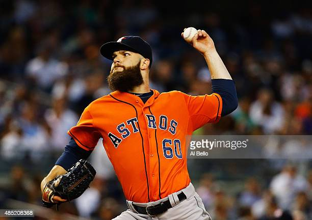 Dallas Keuchel of the Houston Astros pitches against the New York Yankees during their game at Yankee Stadium on August 25 2015 in New York City
