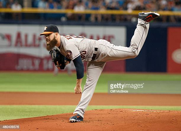 Dallas Keuchel of the Houston Astros pitches against the Tampa Bay Rays in the first inning on July 11 2015 at Tropicana Field in St Petersburg...