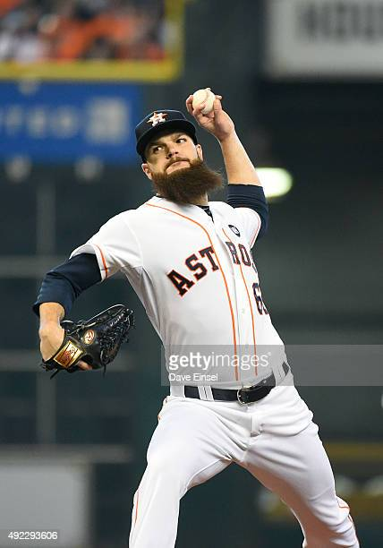 Dallas Keuchel of the Houston Astros pitches during Game 3 of the ALDS against the Kansas City Royals at Minute Maid Park on Sunday October 11 2015...